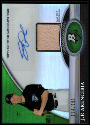 Photo of 2011 Bowman Platinum Relic Autograph Green Refractors #JA J.P. Arencibia