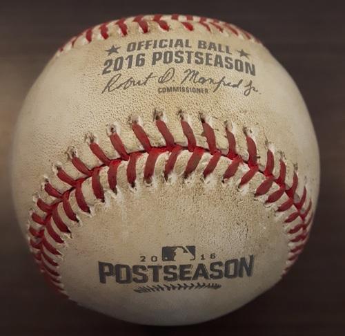 Photo of Authenticated Game Used Postseason Baseball (October 15, 2016 - ALCS Game 2 @ CLE) - Batter - Edwin Encarnacion, Pitcher - Joshua Tomlin, Top of 3, Ball 4; Walk.