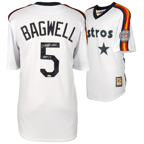 Photo of Jeff Bagwell Houston Astros Autographed Majestic White Cooperstown Collection Replica Jersey