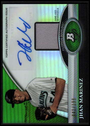 Photo of 2011 Bowman Platinum Relic Autograph Green Refractors #JM Jhan Marinez