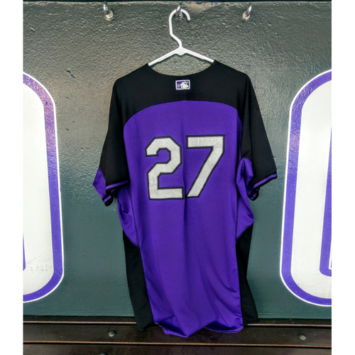 Photo of Colorado Rockies Trevor Story Team-Issued 2016 Batting Practice Jersey.