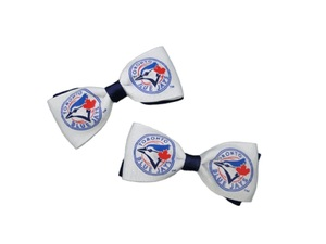 Toronto Blue Jays Women's Hair Bow Pair White and Royal Blue by Bulletin