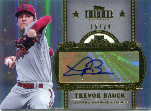 Photo of 2013 Topps Tribute Tribute to the Stars Autographs #TB Trevor Bauer 15/24 -- Indians post-season