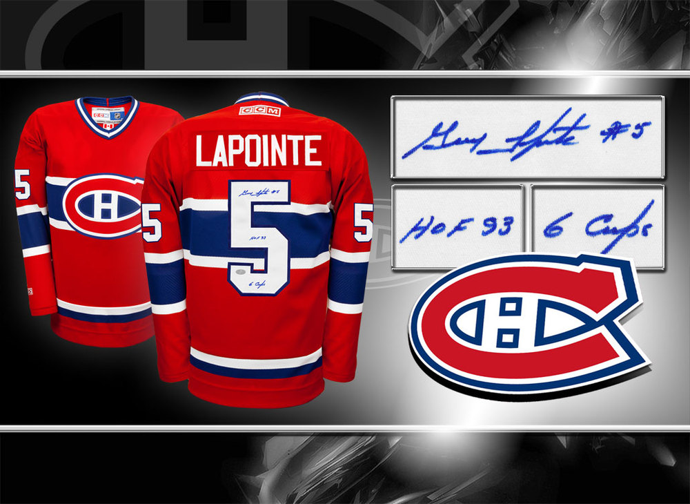 Guy Lapointe Montreal Canadiens HOF 6 CUPS Autographed Jersey