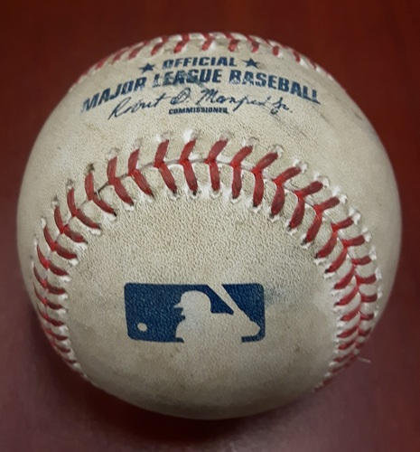 Photo of Authenticated Game Used Baseball (April 18, 2017 vs BOS) - Steve Pearce singles on a line drive to center fielder Andrew Benintendi.   Russell Martin scores.  Changeup by Matt Barnes (Bot 9)