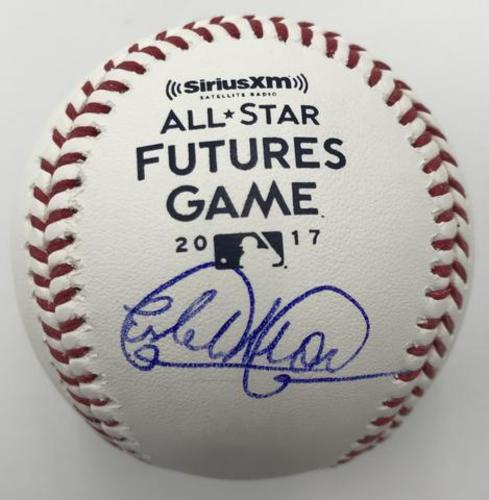 Photo of Estevan Florial Autographed 2017 Futures Game Logo Baseball