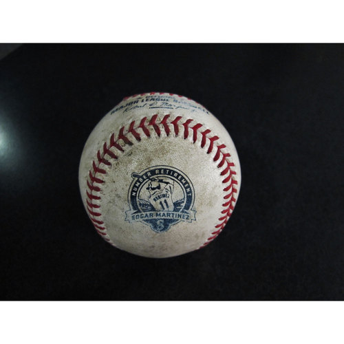 Photo of Game-Used Baseball With Martinez Number Retirement Logo Batter: Valbuena- Pitcher: Ramirez  Foul Ball 8-12-17