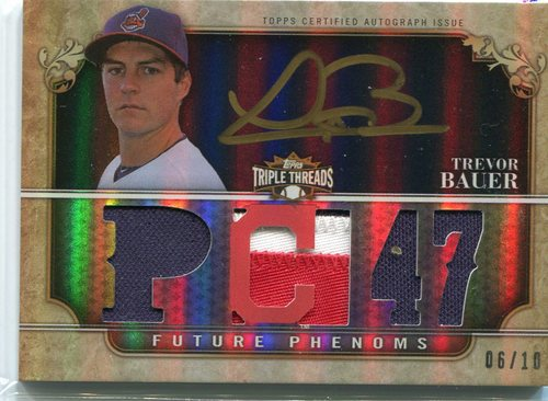 Photo of 2013 Topps Triple Threads Black Gold Ink #164 Trevor Bauer jersey/auto 6/10 -- Indians post-season