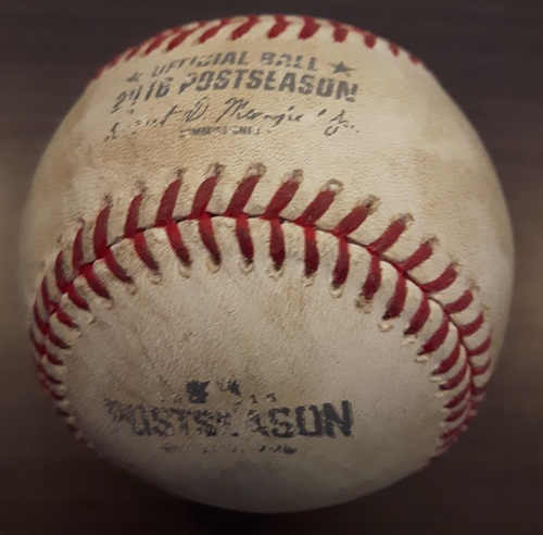 Photo of Authenticated Game Used Postseason Baseball (October 17, 2016 - ALCS Game 3 vs CLE) - Batter - Melvin Upton, Jr., Pitcher - Andrew Miller, Bottom of 9, Strikeout Swinging.