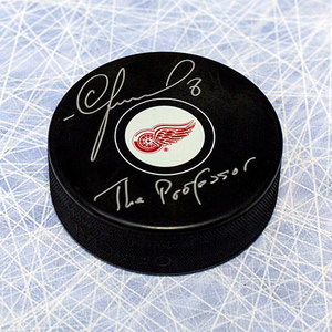 Igor Larionov Detroit Red Wings Autographed Hockey Puck w/ *The Professor* note