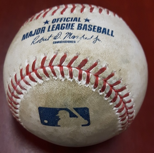 Authenticated Game Used Baseball (April 19, 2017 vs BOS) - All 3 Outs of Top 3 by Francisco Liriano (Pablo Sandoval Strikeout, Sandy Leon Pop Out, Dustin Pedroia Ground Out) - Top 3