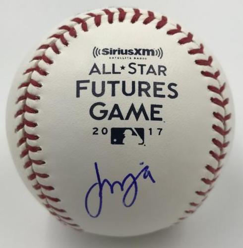 Photo of Francisco Mejia Autographed 2017 Futures Game Logo Baseball