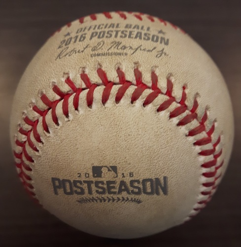 Photo of Authenticated Game Used Postseason Baseball (October 18, 2016 - ALCS Game 4 vs CLE) - Batter - Jason Kipnis, Pitcher - Aaron Sanchez, Top of 1. Strikeout Swinging.