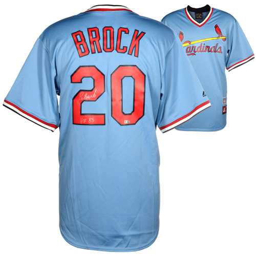 Photo of Lou Brock St. Louis Cardinals Autographed Majestic Cooperstown Jersey With HOF 85 Inscription