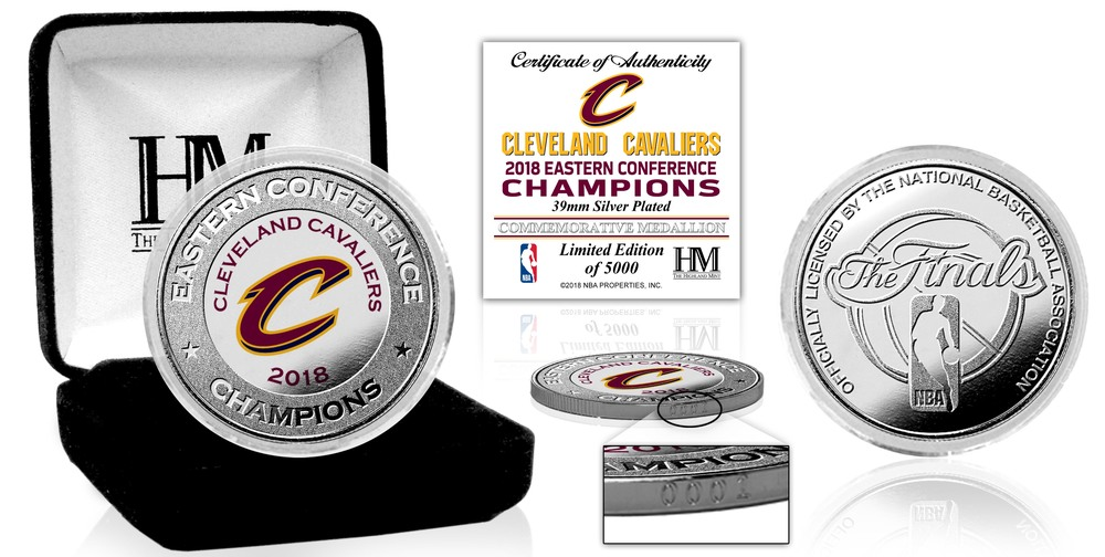 Serial #1! Cleveland Cavaliers 2018 NBA Eastern Conference Champions Silver Mint Coin