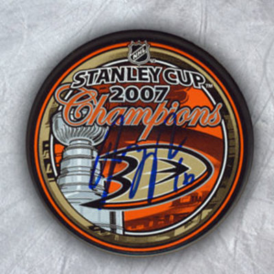 GEORGE PARROS Anaheim Ducks SIGNED 07 Stanely Cup Puck