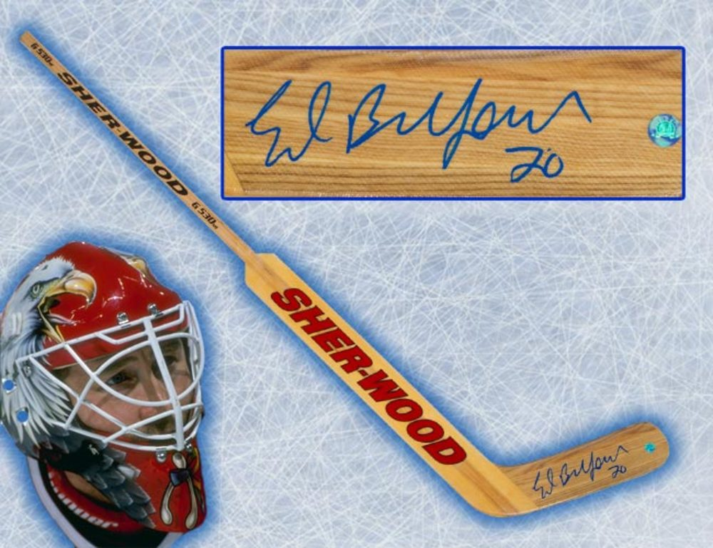 Ed Belfour Autographed Wooden Sherwood G350 SR Goalie Stick - Chicago Blackhawks
