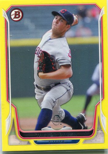 Photo of 2014 Bowman Yellow #162 Trevor Bauer -- Indians post-season