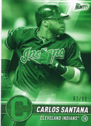Photo of 2017 Topps Bunt Green #191 Carlos Santana 62/99 -- Indians post-season