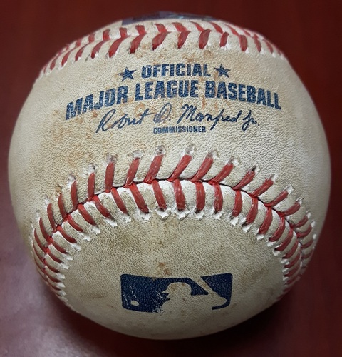 Photo of Authenticated Game Used Baseball (April 19, 2017 vs BOS) - Mookie Betts Strikeout Baseball. His first in 129 Regular Season at Bats. Longest Streak since 2004. (Mookie Betts strikes out swinging.  Slider by Francisco Liriano, Top 4)