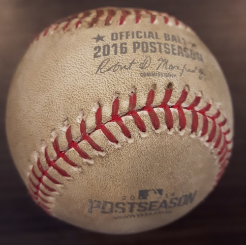 Photo of Authenticated Game Used Postseason Baseball (October 19, 2016 - ALCS Game 5 vs CLE) - Batter - Lonnie Chisenhall, Pitcher - Marco Estrada, Top of 4, Strikeout Swinging.