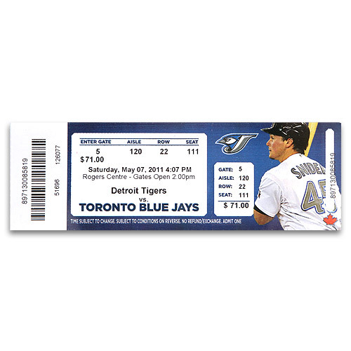 Detroit Tigers Justin Verlander No Hitter Ticket from Toronto