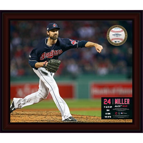 Photo of Andrew Miller 2016 ALCS MVP Gamebreaker Picture (INCLUDES GAME-USED BASEBALL FROM THE ALCS)