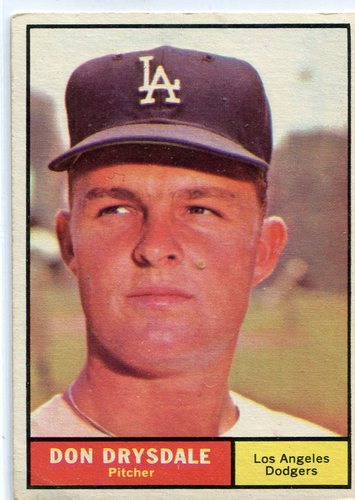 Photo of 1961 Topps #260 Don Drysdale -- Dodgers Hall of Famer