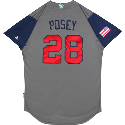 2017 World Baseball Classic: (USA vs. DR)  Round 1 - Buster Posey Team USA Game-Used Road Gray Jersey - Size 46