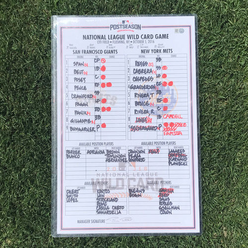 Photo of San Francisco Giants - 2016 Postseason Lineup Card - WC Game v Mets - signed by manager Bruce Bochy
