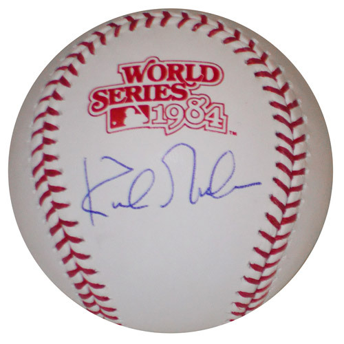 Photo of Detroit Tigers Kirk Gibson Autographed 1984 World Series Logo Baseball
