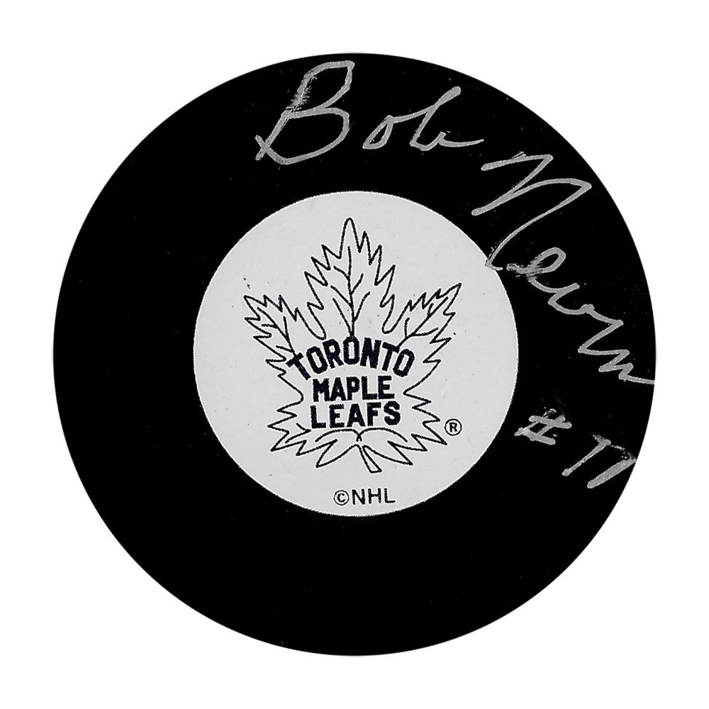 Bob Nevin Autographed Toronto Maple Leafs Puck