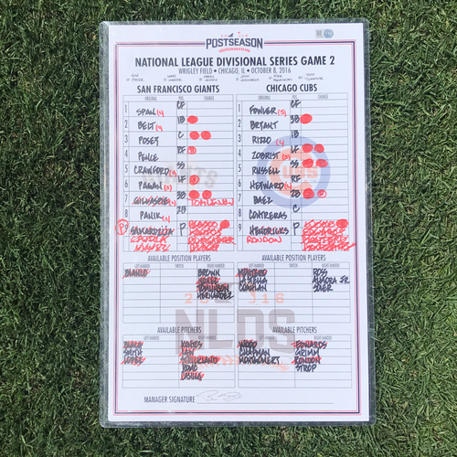 Photo of San Francisco Giants - 2016 Postseason Lineup Card - NLDS Game 2 v Cubs - signed by manager Bruce Bochy