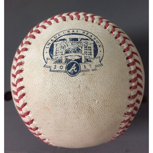 Photo of Game-Used Baseball Pitched by Sean Newcomb during his Major League Debut - June 10, 2017