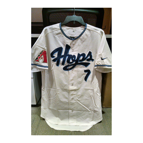 Photo of Dansby Swanson FIRST Professional Game-Used Jersey from PRO DEBUT on August 12, 2015
