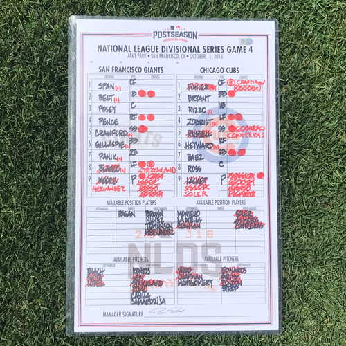 Photo of San Francisco Giants - 2016 Postseason Lineup Card - NLDS Game 4 v Cubs - signed by manager Bruce Bochy