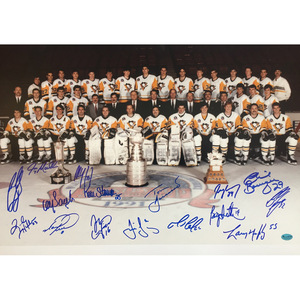 1991 Pittsburgh Penguins Team Signed 16X20 Photo - Lemieux, Jagr, Coffey & More - 25th Anniversary