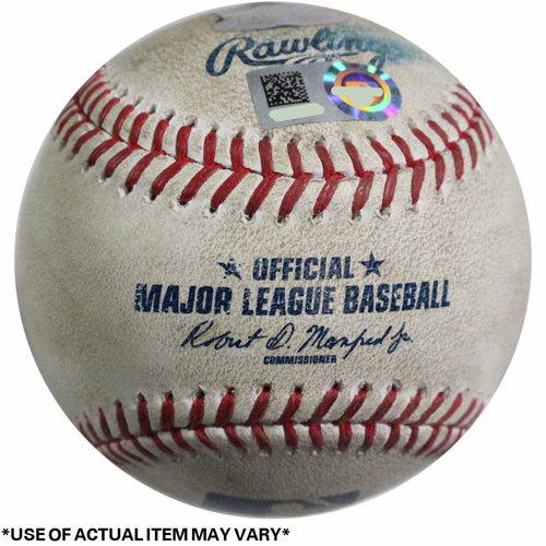Photo of Royals at Yankees Game-Used Baseball 5/24/2017 (Top 1 - Lorenzo Cain - 1 - Swinging Strike, Top 1 - Lorenzo Cain - 2 - Called Strike, Top 1 - Lorenzo Cain - 3 - Ball)