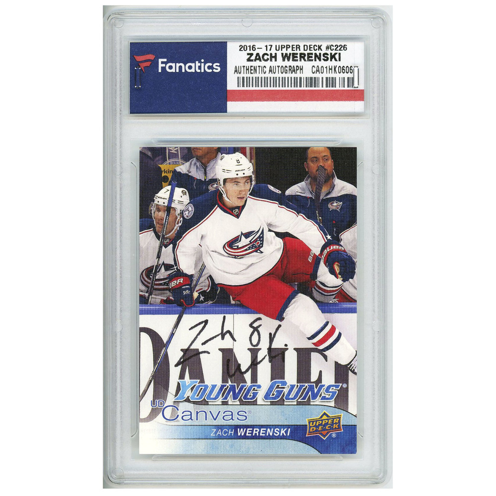 Zach Werenski Columbus Blue Jackets Autographed 2016-17 Upper Deck Rookie Young Guns Canvas #C226 Card with NHL Debut 10/13/16 Inscription