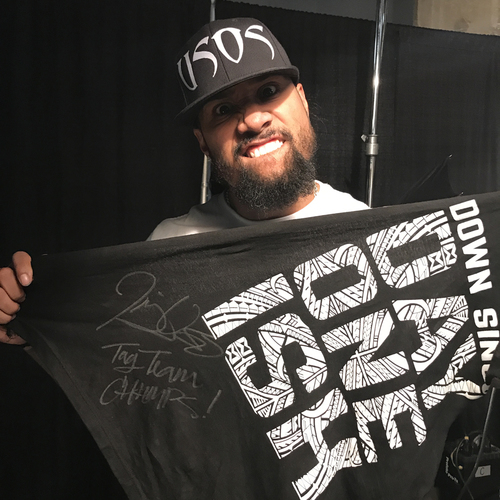 Photo of Jimmy Uso WORN & SIGNED T-Shirt (Hell in a Cell - 10/08/17)