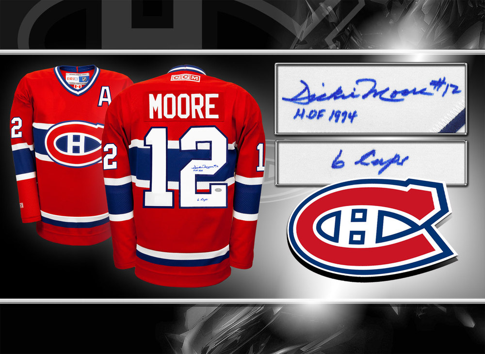 Dickie Moore Montreal Canadiens HOF 6 CUPS CCM Autographed Jersey