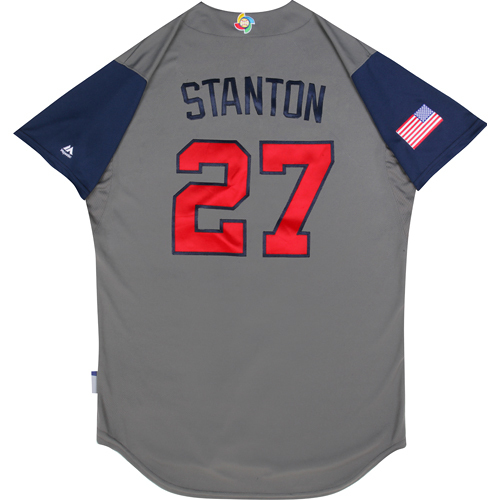 2017 World Baseball Classic: (USA vs. DR)  Round 1 - Giancarlo Stanton Team USA Game-Used Road Gray Jersey - Size 46