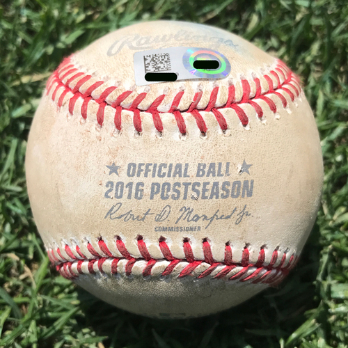 Photo of San Francisco Giants - Game-Used Baseball - NLDS Game 3 v Cubs - B5 Denard Span triple off Jake Arrieta. Also Brandon Belt, Fouled Back to Screen