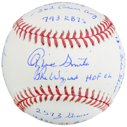Photo of Ozzie Smith St. Louis Cardinals Autographed Baseball with Multiple Career Stats Inscriptions - #12 in a Limited Edition of 12