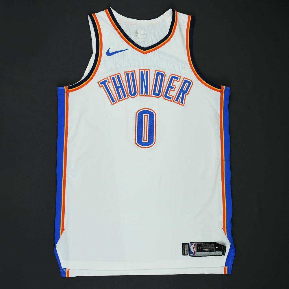 Russell Westbrook - Oklahoma City Thunder - 2018 NBA Playoffs Game-Worn 1st Half Only Jersey (Double-Double)