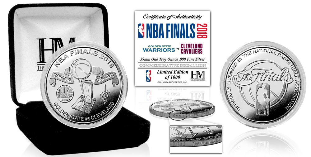 Serial #1! 2018 NBA Finals Dueling Silver Mint Coin (Cavs vs GSW)