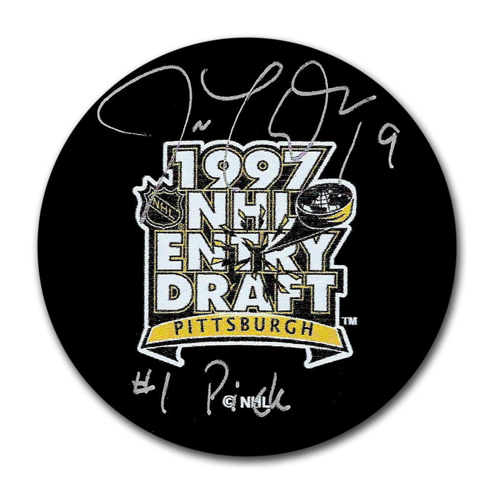 Joe Thornton Autographed 1999 NHL Entry Draft Puck w/#1 OVERALL Inscription (San Jose Sharks)