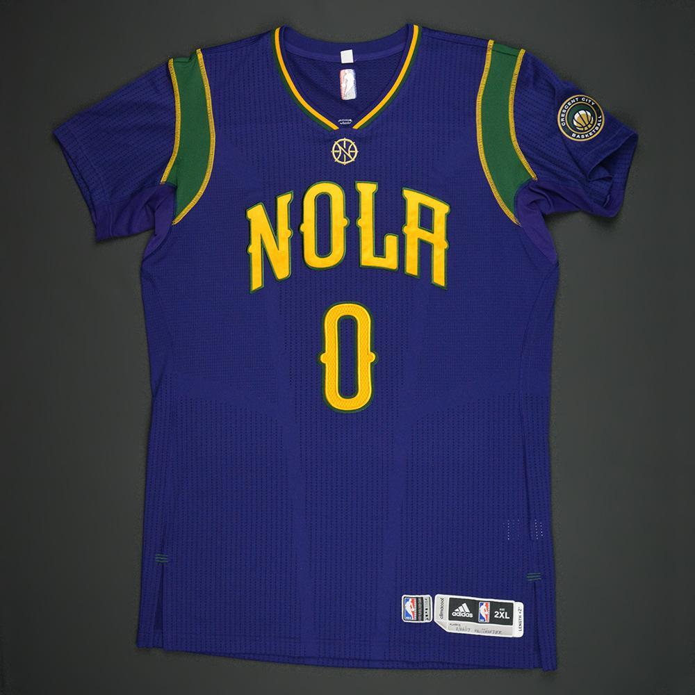 DeMarcus Cousins - New Orleans Pelicans - Purple 'Mardi Gras' Game-Worn Jersey - 2016-17 Season - Double-Double