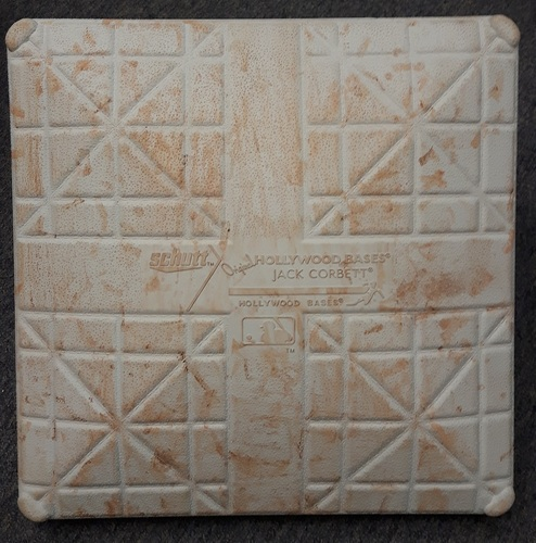 Photo of Authenticated Game Used Base - 3rd Base for 2016 Spring Training in Montreal vs Boston Red Sox (Inn 6-9 for April 1, Inn 6-10 for April 2)
