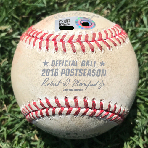 Photo of San Francisco Giants - Game-Used Baseball - NLDS Game 3 v Cubs - T7 Kris Bryant strikeout by Derek Law. Also Anthony Rizzo, Pitch in the Dirt
